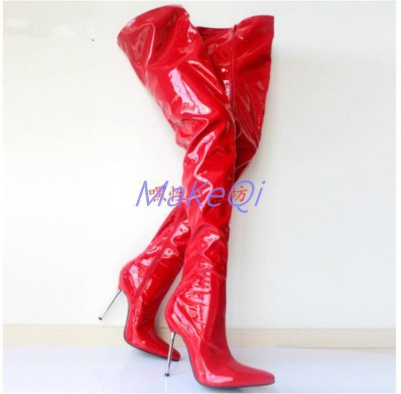 Mujeres Sobre Rodilla Muslo Tacón Alto Ajustado botas De Baile Discoteca De Cuero Zapatos Sexy Ajustado Alto 8b7091