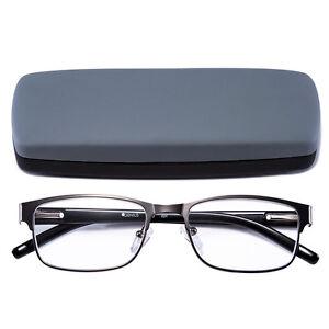 Reading-Glasses-Readers-Metal-Deluxe-Rectangular-gun-Frame-Business-occasion-Men