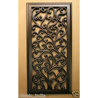 """Wall Decor Panel Hanging Scenery Hand Carved Beautiful Tree Floral Design 24X12"""""""