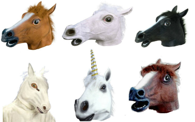 NEW ADULT HORSE LATEX RUBBER FULL OVERHEAD FANCY DRESS COSTUME ANIMAL PONY MASK