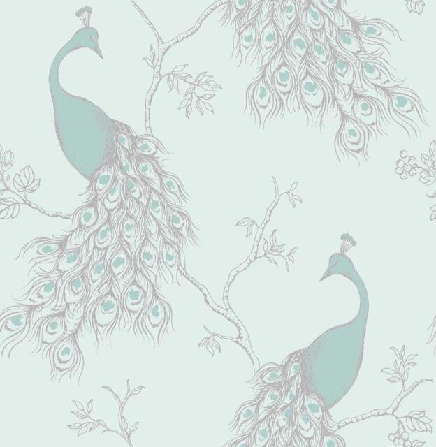 New Fine Decor Empress Peacock Shabby Chic Wallpaper Duck Egg Blue/Teal FD40713