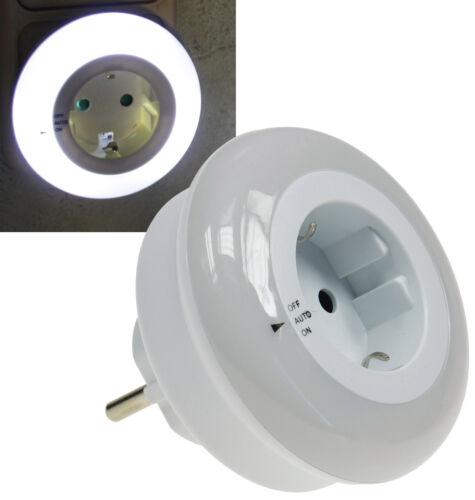 LED Nachtlicht mit Zwischenstecker 230V 0,8W weiß On//Off//Auto bei Dämmerung!