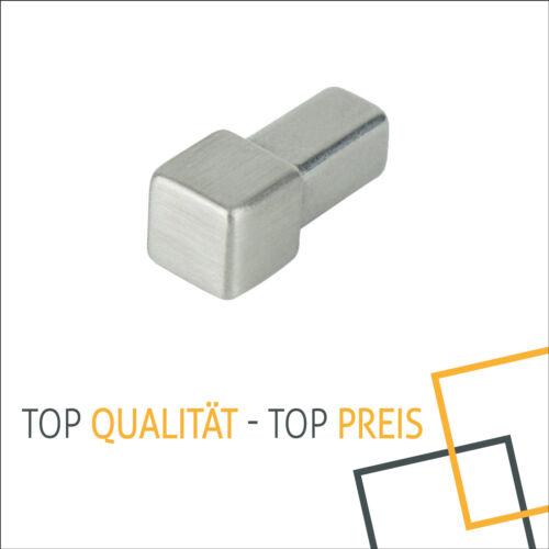 Eckstück Höhe 11mm gebürstet f Fliesenschiene Quadrat Abschlussprofil Edelstahl