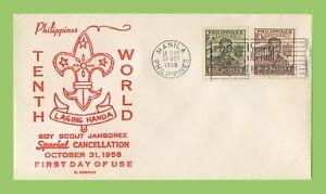 Phillipines-1958-decimo-mondo-grande-occasione-di-incontro-due-imperfs-Timbro-primo-giorno-di