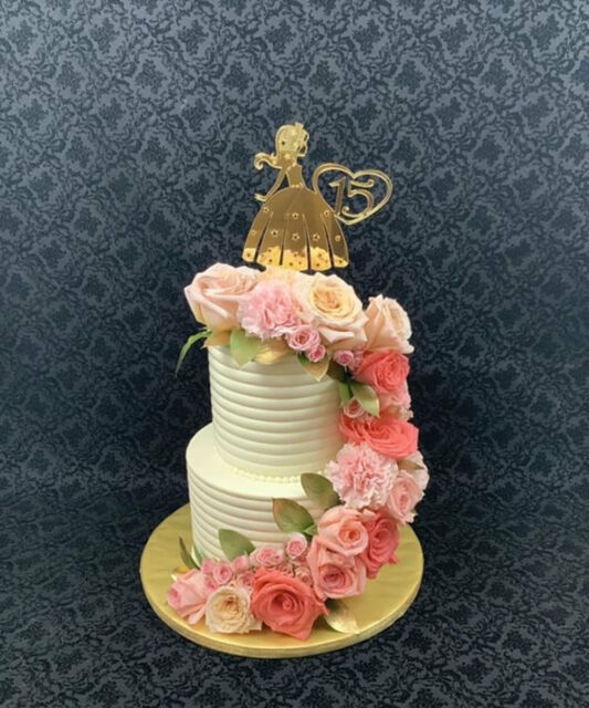 Quinceanera Cake Topper 15th Girl Princess Birthday Decorations Mirror Gold