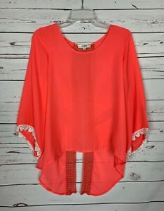 UMGEE-USA-Boutique-Women-039-s-S-Small-Coral-Lace-Summer-Sheer-Cute-Blouse-Shirt-Top