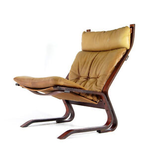 Retro Vintage Oddvin Rykken Leather Lounge Chair Armchair 60s 70s Danish Norway