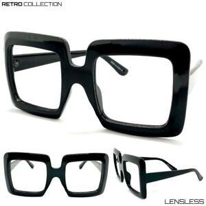 Oversized-RETRO-Large-Thick-Black-Square-Lensless-Eye-Glasses-Frame-Only-NO-Lens