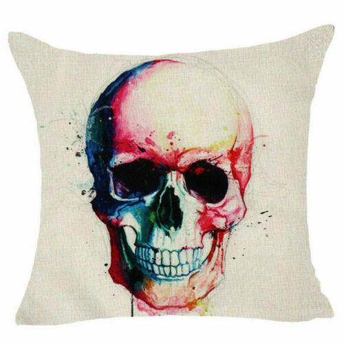 Skull Sofa Cushion Cover Throw Pillow Case Cover Linen Cotton Home Decor 18inch