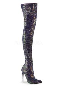 white glitter thigh high boots