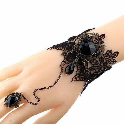 Wedding Gothic Jewelry Black Cameo Lace Flower Bracelet Chain Ring Lolita Gift