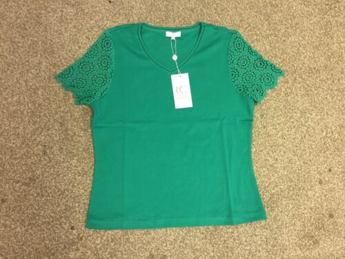 Country Casuals Petites Ladies Green Cap Lace Sleeve Top Size M L XL