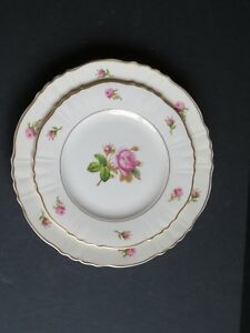 2 Syracuse China Victoria Rose Pattern Federal Shape Dinner