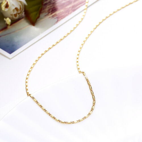 Classic 18K Yellow Gold Filled 1.5mm Polished Flat Solid Heshe Chain Necklace