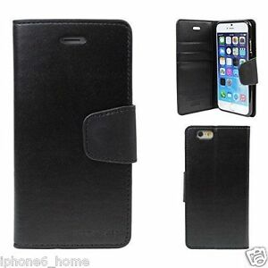 iPhone-6-6s-Genuine-MERCURY-Goospery-Black-Flip-Case-Wallet-Cover-FREE-Shipping