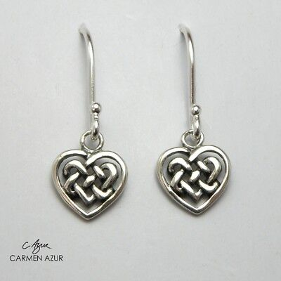925 Sterling Silver Drop Earrings Celtic Knot Triquetra Ladies New inc Gift Bag