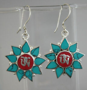Asian-sterling-silver-earrings-tibetan-coral-handmade-nepalese-hook-tops-GLE17