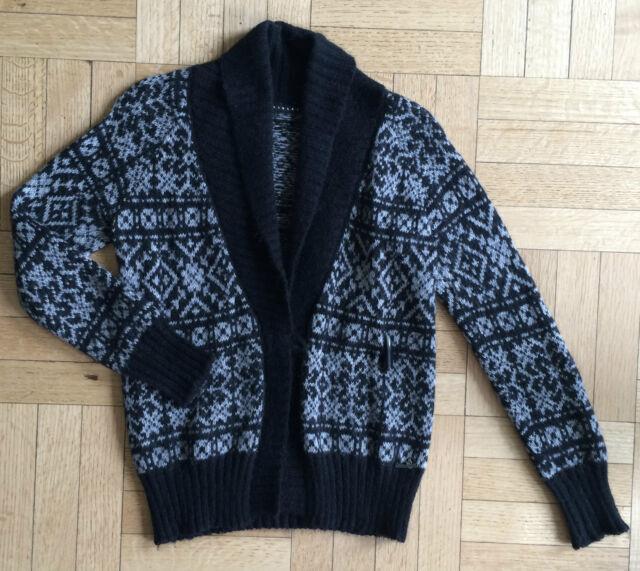 1e7a6f6cd0 Sisley Sweater Cardigan Fair Isle Print Black White XS