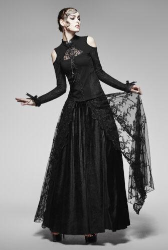 Top haut gothique lolita baroque col montant broderie dentelle plumes Punkrave