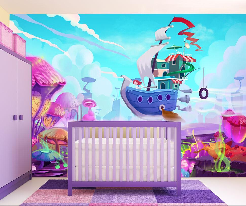3D Cartoon Purple Ship Wall Paper wall Print Decal Wall Deco Indoor wall Mural