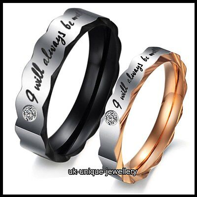 UNIQUE LOVE QUOTE RINGS PROMISE BANDS XMAS GIFT FOR HER HIM WIFE HUSBAND COUPLES