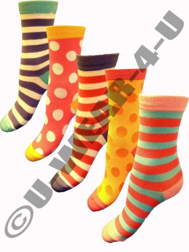 9-12 OR 12.5-3.5 10 PAIRS OF GIRLS F+F TESCO /'SPOTS /& STRIPES/' SOCKS