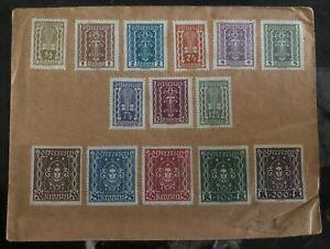1920s Austria cover Definitive Stamps Sc #250-58, 288/92 Never Canceled