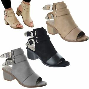 LADIES-WOMENS-LOW-MID-BLOCK-HEEL-ANKLE-STRAP-BUCKLE-PEEP-TOE-SANDALS-SHOES-SIZE