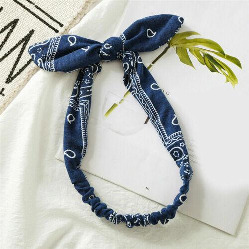 Women Headband Boho Bow Bandana Knot Head Wrap Elastic Cute Rabbit Ear Hairband