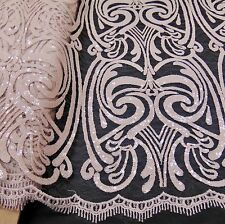 "Damask NUDE Sequin Mesh Polyester Lace dress Apparel Sewing fabric 52"" wide"