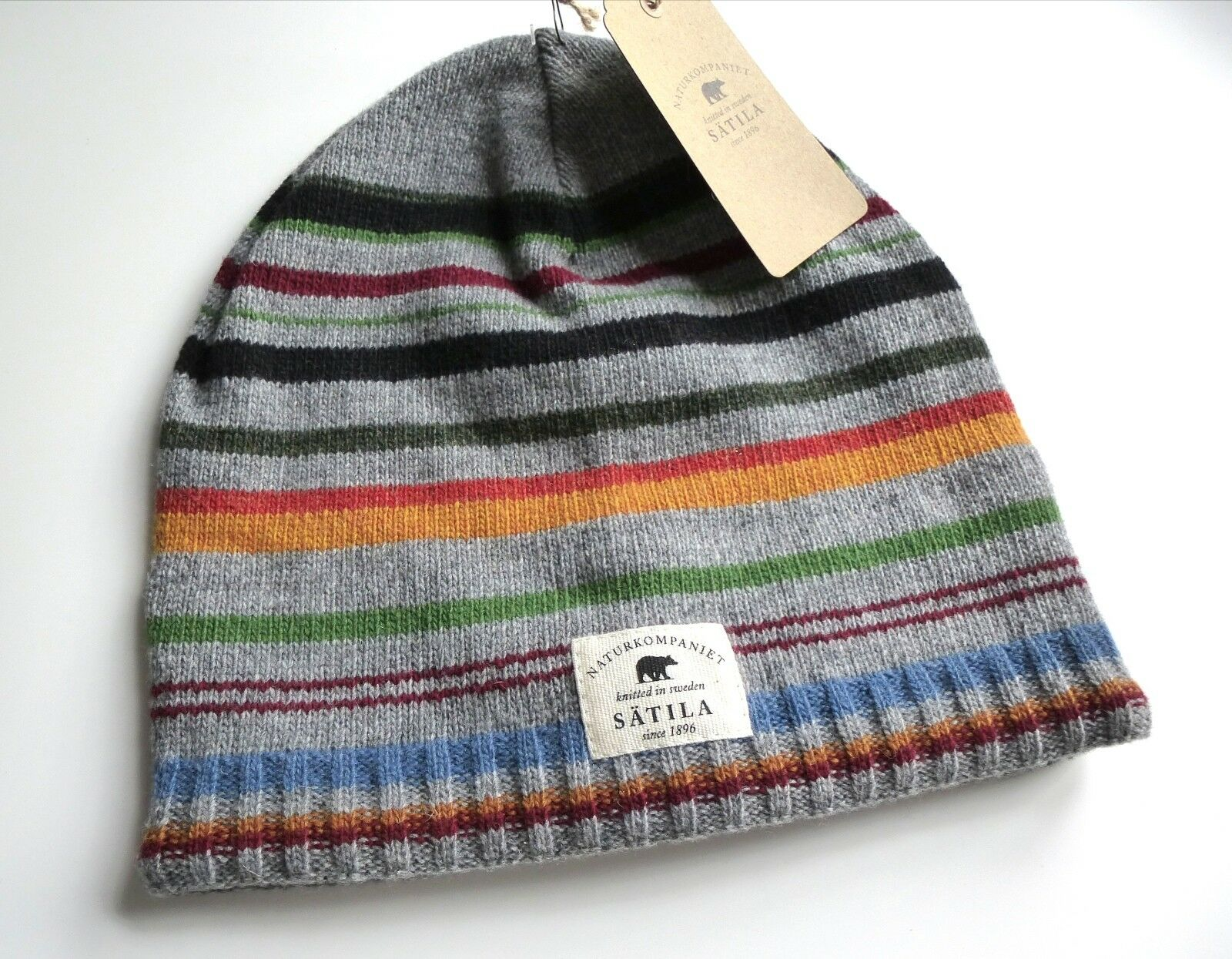 SATILA Knitted in SWEDEN Lambswool Grey Striped Beanie Toque Hat Mens Womens TAG
