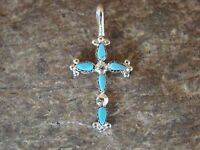 Zuni Indian Jewelry Sterling Silver Turquoise 5 Stone Cross Pendant