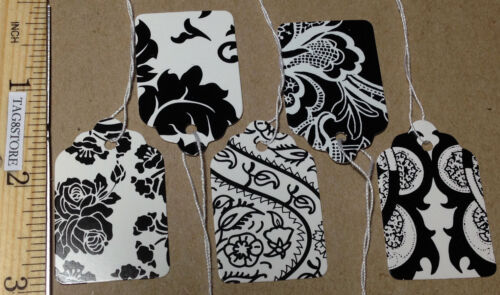 Lot 500 Country French BlackWhite Price Tags Pre-Strung 5Patterns Retail #5 Lace
