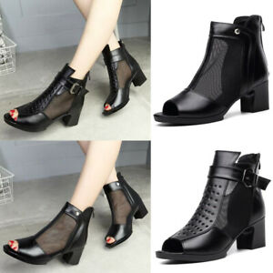 Summer-Ladies-Genuine-Leather-Ankle-Boots-Women-Gauze-Peep-Toe-Zip-Sandals-Shoes