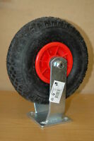 2 x 260mm pneumatic fixed caster wheels