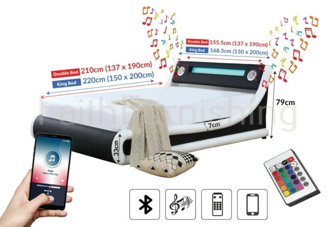 Bluetooth Music Ottoman Speaker Bed Modern Black/ Black & White Leather USB AUX