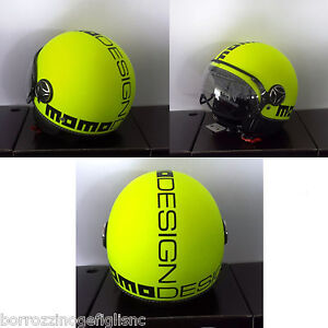 NUOVO-CASCO-MOMO-DESIGN-FIGHTER-GIALLO-FLUO-DEC-NERA-TG-L
