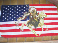 3 Ft X 5 Ft American Flag With Chief On Horse Polyester