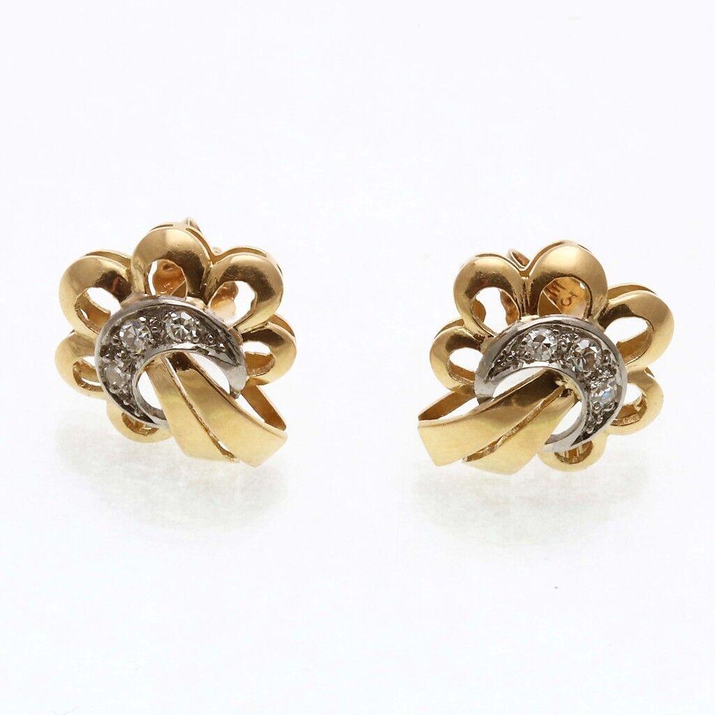 Vintage 14k yellow white gold cubic zirconia Flower stud earrings Estate