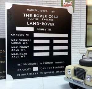 Bulkhead Gearbox//Transfer Box Information Plate//Plaque Land Rover Series 2 2a 3