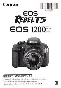 canon eos rebel t5 1200d digital slr camera owners instruction rh ebay com Digital Canon Camera Parts Canon Digital Camera Manual Settings