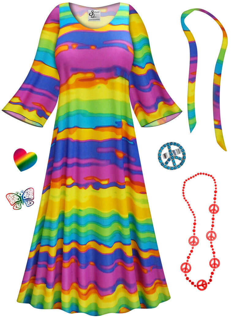 END OF THE RAINBOW PLUS Größe Hippie DRESS + Halloween Costume Lg XL 0X - 9X