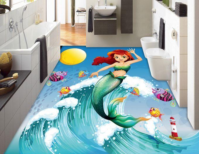 3D sirena vivaio pesce Pavimento Foto Wallpaper Murales Muro Stampa Decalcomania
