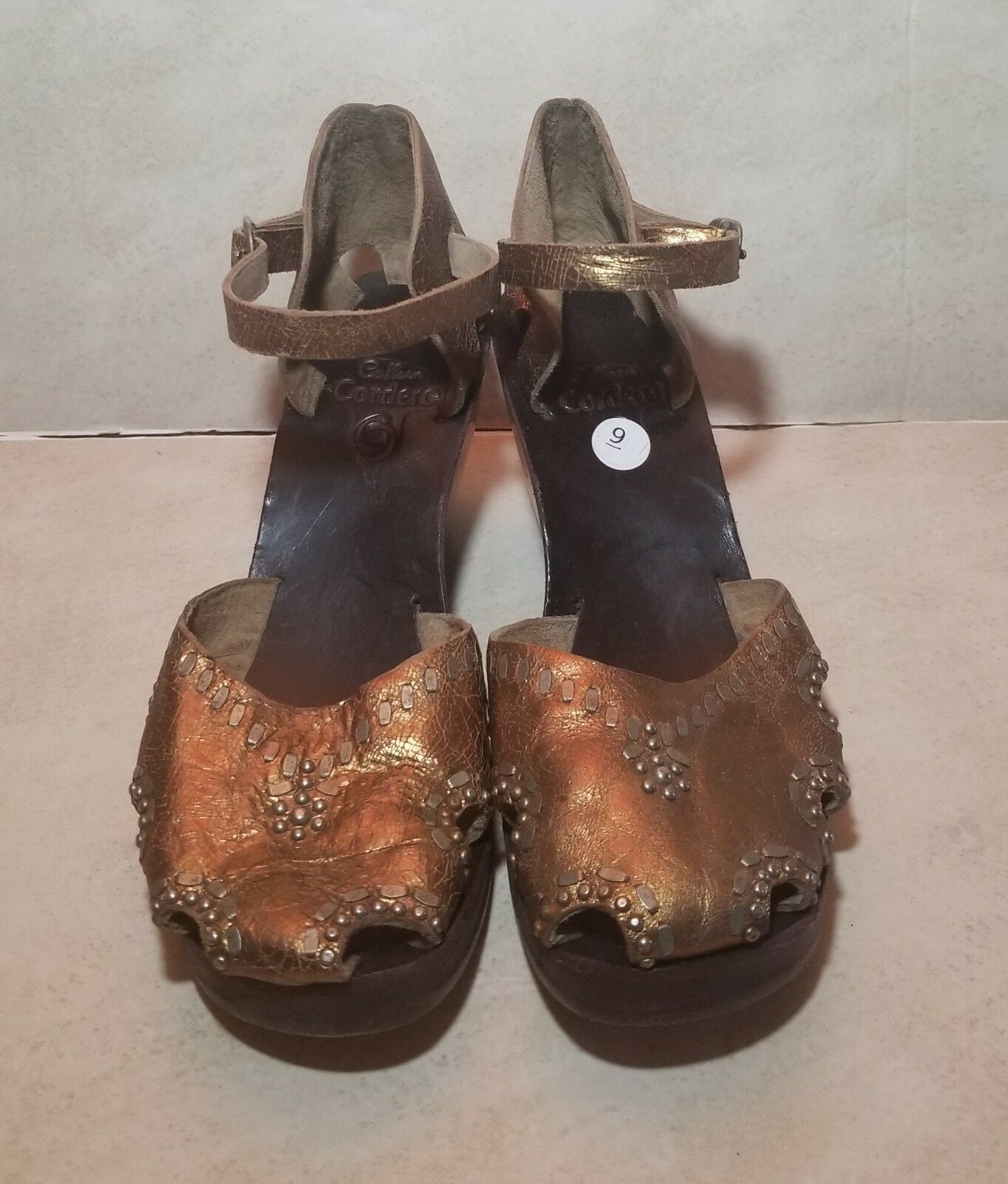 CALLEEN CORDERO COPPER CRACKLE LEATHER STUDDED WOOD SOLE WEDGE schuhe Größe 9M
