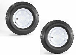 2-Pack-Trailer-Tire-On-Rim-ST175-80D13-175-80-D-13-in-LRC-5-Hole-White-Spoke