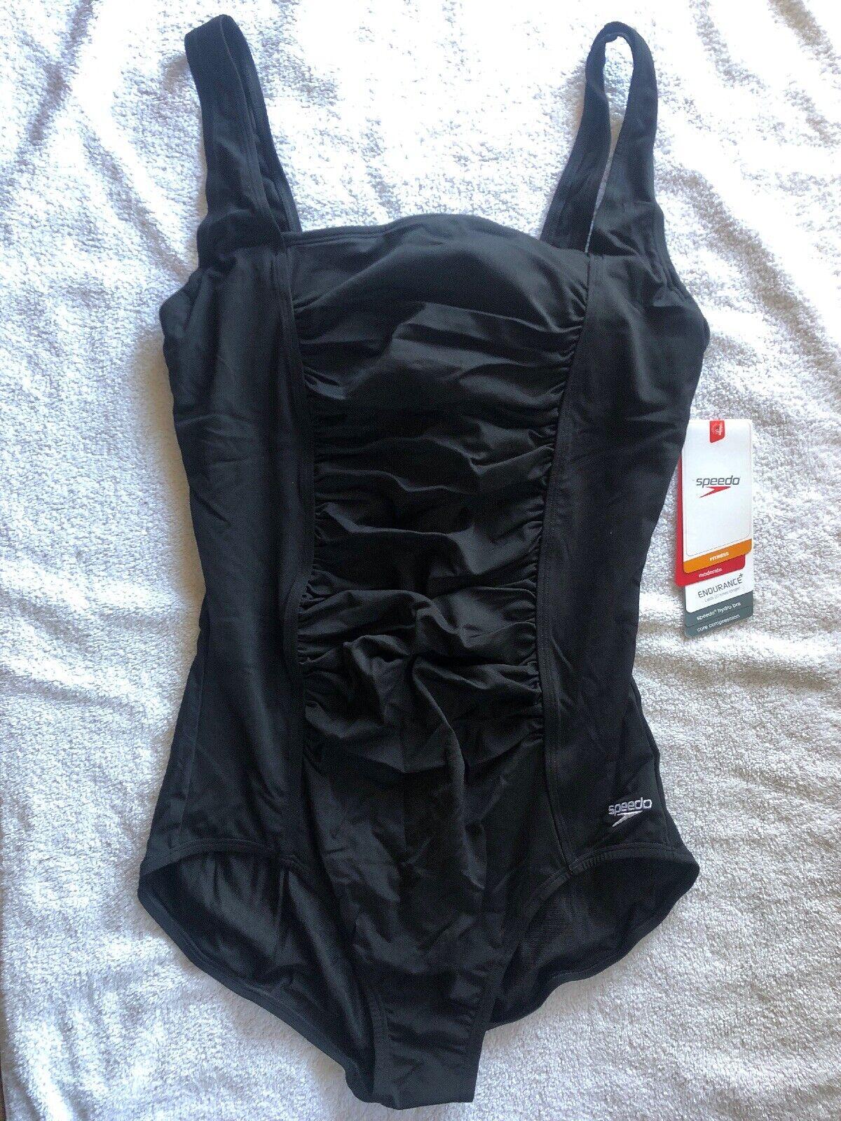 PDSF  82 Speedo One Piece Fitness Maillot De Bain Taille 16 Noir Neuf Avec étiquettes maillot de bain Sport