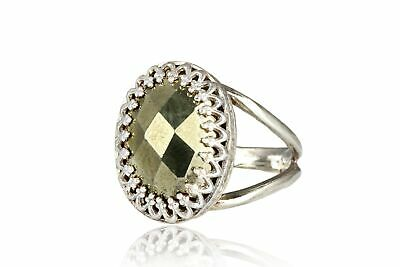 Pyrite Ring made of hammered sterling silver 925