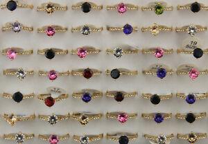 60pcs Engagement Jewelry Job Lots Round Cubic Zirconia Rhinestone Wholesale Ring