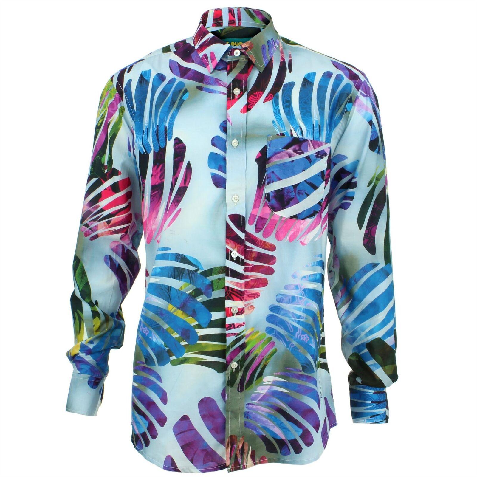 Men's Loud Shirt REGULAR FIT Abstract bluee Retro Psychedelic Fancy