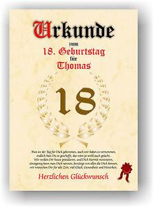 Geschenkidee-zum-18-Geburtstag-Urkunde-Geburtstagsurkunde-Geburtstagskarte-NEU